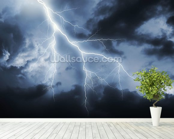 Lightning Bolt mural wallpaper room setting