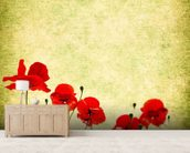 Poppies Illustration wallpaper mural living room preview