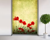 Poppies Illustration wallpaper mural in-room view