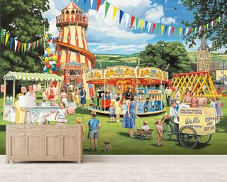 Funfair on the Green Wall Mural Wallpaper Wall Murals