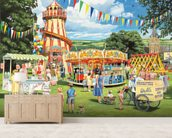 Funfair on the Green mural wallpaper living room preview