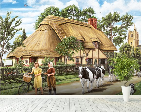 Milking Time mural wallpaper room setting