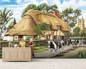 Milking Time mural wallpaper living room preview