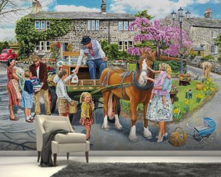 Petting The Horse wall mural