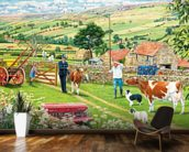 Returning A Stray Calf mural wallpaper kitchen preview