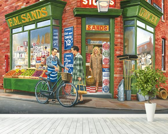 The Corner Shop wall mural room setting