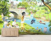 The Riverbank wallpaper mural living room preview
