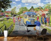 The Village Bus Stop mural wallpaper kitchen preview
