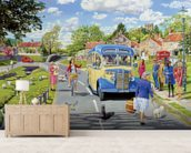 The Village Bus Stop mural wallpaper living room preview