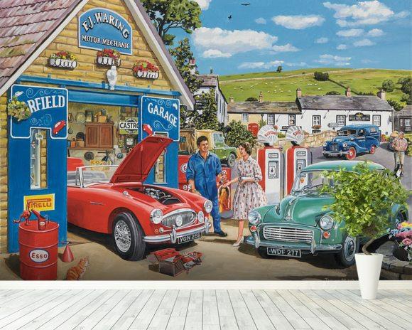 The Village Garage by Trevor Mitchell Wall Mural The Village