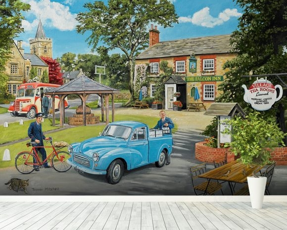 The Village Tea Rooms wall mural room setting