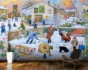 Winter Games mural wallpaper kitchen preview