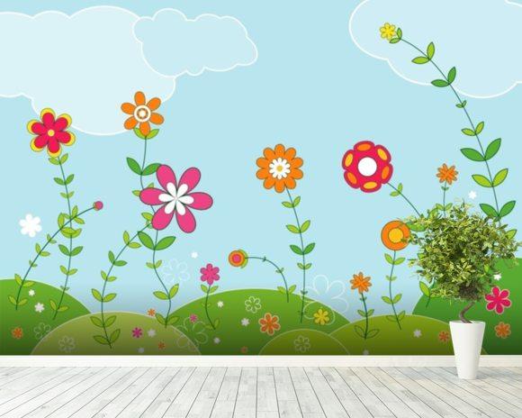 flowery wallpaper wall mural wallsauce new zealand