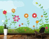 Flowery wallpaper mural kitchen preview