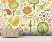 Birds and Forest mural wallpaper living room preview