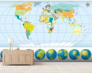 Country Capital World Map wallpaper mural