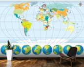 Country Capital World Map wallpaper mural kitchen preview