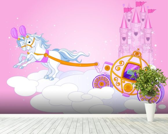 Cinderella carriage wallpaper wall mural wallsauce for Cinderella wall mural