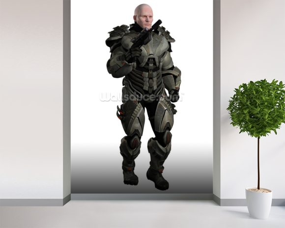 Soldier in futuristic body armour wall mural room setting