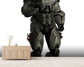 Soldier in futuristic body armour wall mural living room preview