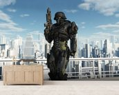 Space Marine Commando - City Patrol mural wallpaper living room preview