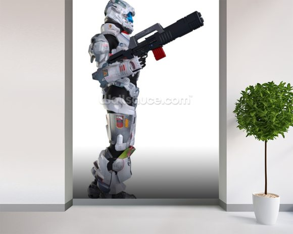 Armed Space Soldier mural wallpaper room setting