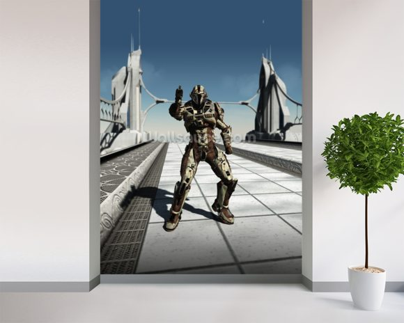 Space Marine Trooper on the Bridge wallpaper mural room setting