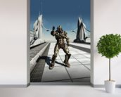 Space Marine Trooper on the Bridge wallpaper mural in-room view