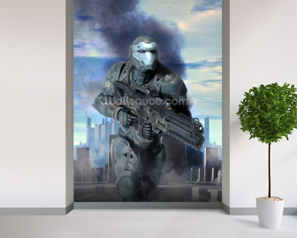Futuristic soldier armor at war mural wallpaper room setting