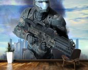 Futuristic soldier armor at war mural wallpaper kitchen preview