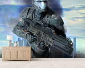 Futuristic soldier armor at war mural wallpaper living room preview