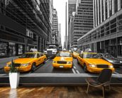 Manhattan Yellow Taxis mural wallpaper kitchen preview