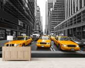 Manhattan Yellow Taxis mural wallpaper living room preview