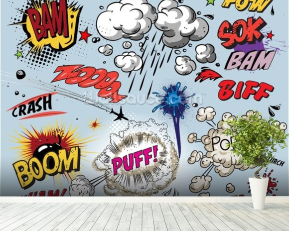 Comic Explosions mural wallpaper room setting