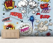 Comic Explosions mural wallpaper living room preview