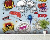 Comic Explosions mural wallpaper in-room view