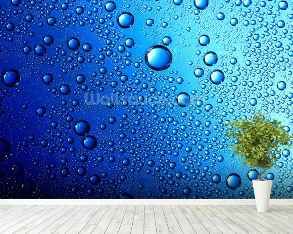 Drops on Glass wallpaper mural room setting