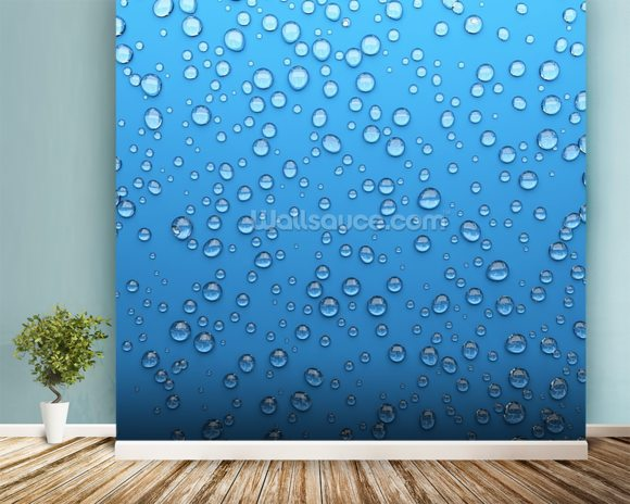 Droplets wallpaper mural room setting
