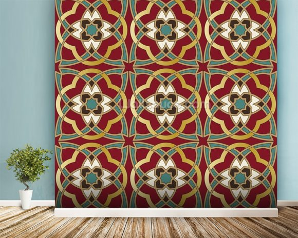 Arabic seamless pattern wallpaper mural room setting