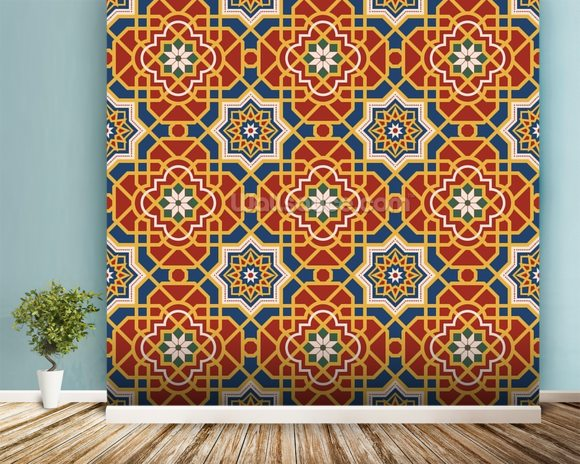 Arabesque seamless pattern in editable vector file wall mural room setting