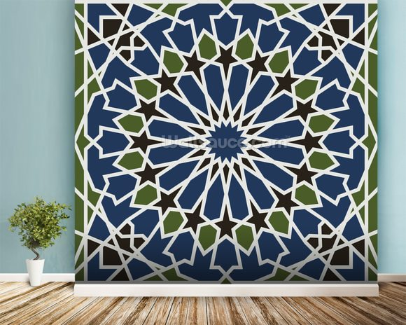 Arabesque seamless pattern mural wallpaper room setting