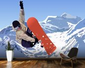 Snowboarder mural wallpaper kitchen preview