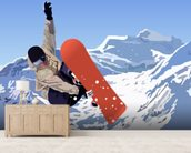 Snowboarder mural wallpaper living room preview