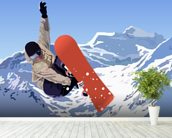 Snowboarder mural wallpaper in-room view