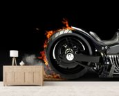 Motorcycle Burnout mural wallpaper living room preview