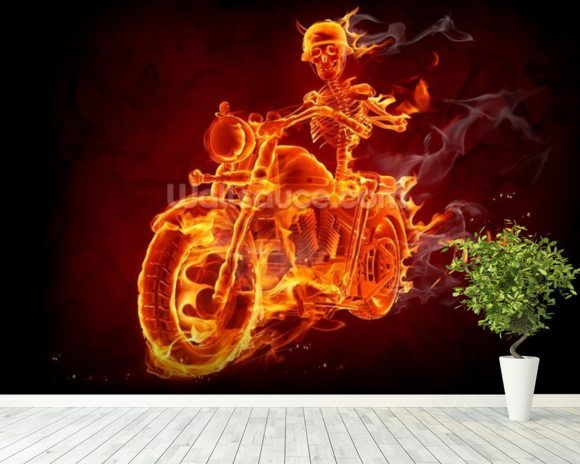 Fire Biker mural wallpaper room setting