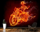 Fire Biker mural wallpaper kitchen preview