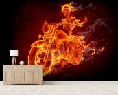 Fire Biker mural wallpaper living room preview