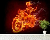 Fire Biker mural wallpaper in-room view