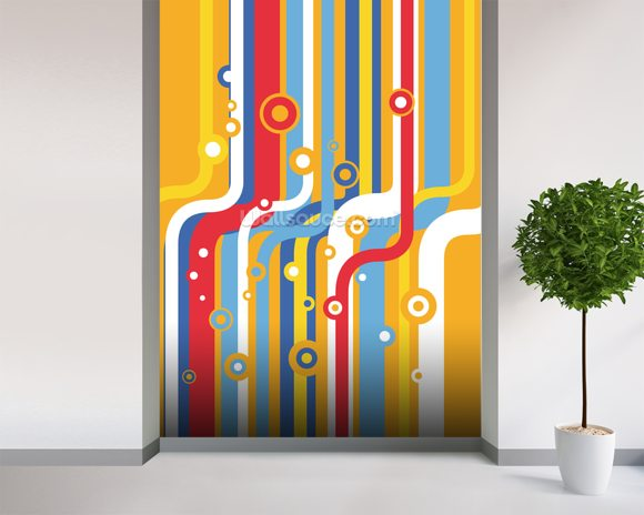 Retro Colourful Lines wallpaper mural room setting